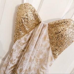 La Femme Gold Sequinned Gown